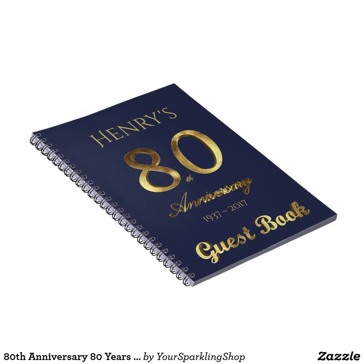 80th Anniversary 80 Years Party Guest Book Gold Blue Spiral Notebook