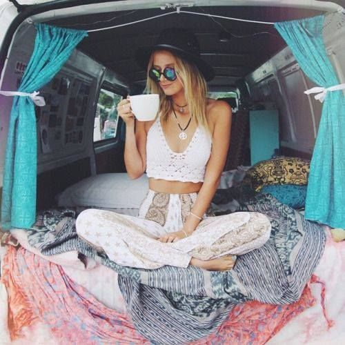 Hippie Chick photography girl coffee hippie van