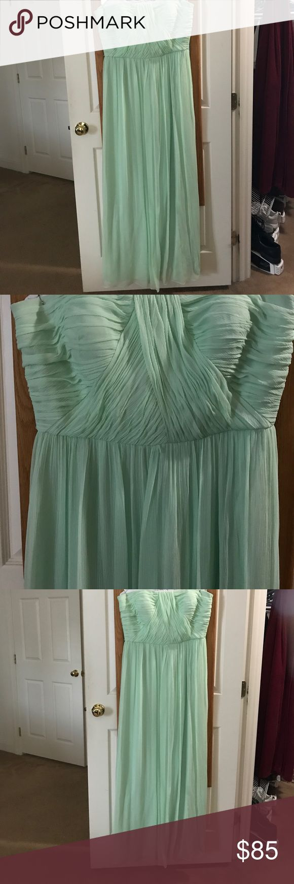Strapless Mint Green Donna Morgan Gown Mint Green Sheer Strapless Donna Morgan Gown - Size 16 - Worn Once - 1 small nick as shown in photo Donna Morgan Dresses Strapless