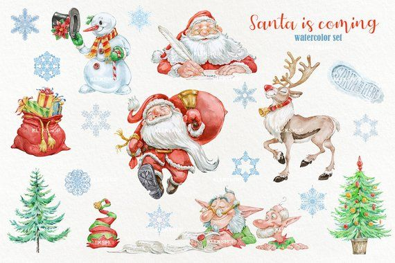 Christmas Clipart Watercolor Clipart Santa Claus Watercolor Clip