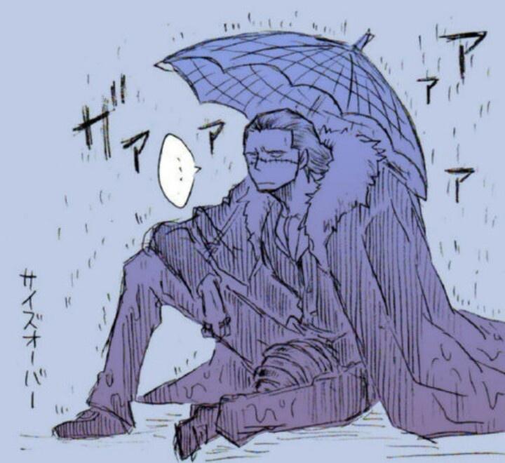 ...He doesn't do well in the rain... Lol Sir Crocodile One Piece