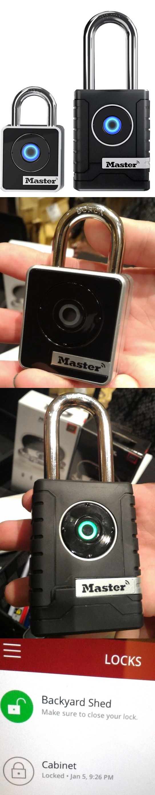 The Master Lock Bluetooth Smart Padlock can be opened wirelessly with a phone or tablet or by tapping out a code on its front panel rocker button. If the lock needs to be opened while you're not around, you can grant temporary access to anyone with the @masterlock Vault eLocks app on their mobile device or send them a temporary button code. The Master Lock Bluetooth Smart Padlock comes in indoor (Model 4400, $70) and outdoor (Model 4401, $89) versions.CLICK THE PIC #CES2016