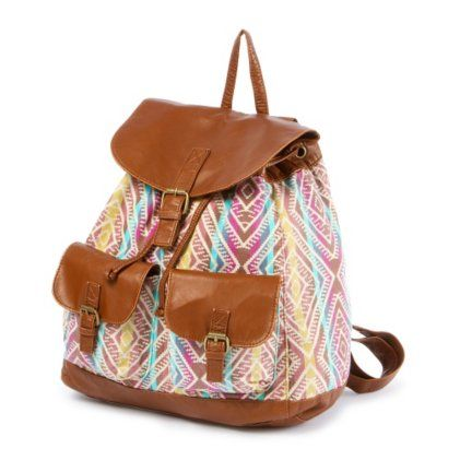 Multicolored Aztec Print Faux Leather Backpack