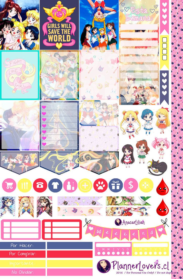 Sailor Moon Free Printable Stickers for Planners by AnacarLilian