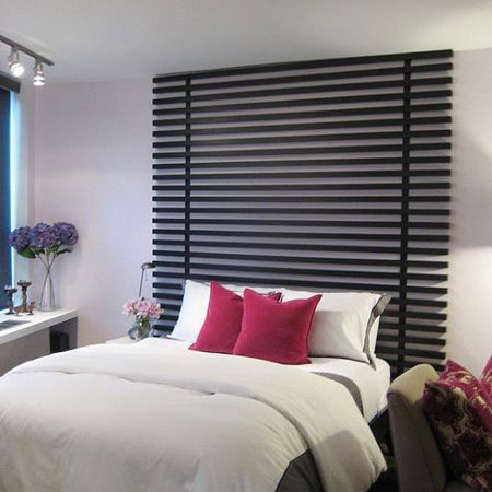 For a more contemporary look, use small slats mounted on upright battens.