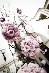 Love thisIdeas, Flower Ball, Purple Rose, Trees Branches, Jars Lanterns, Hanging Mason Jars, Pink Rose, Wedding Flower, Tins Cans