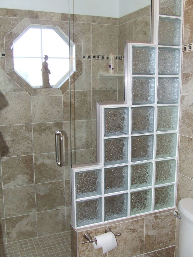 replace door with glass blocks graduated levels - Bathroom Designs Using Glass Blocks