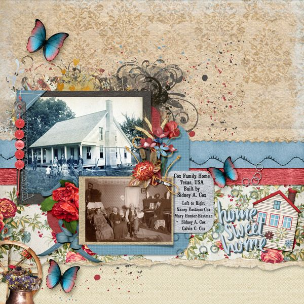 This is for the May 2017 Bluebird Mix and Match Challenge.  I used Home by Dae Designs, Breakfast In The Field Messy Stamps by Elizabeth's Market Cross, Mini Kit Country House by Kittyscrap, Be Happy by LeaUgoScrap, and 2 On A Torn Mat Quickclick Template by Meryl Bartho.