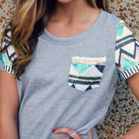 cute, but not long-sleeved. but love the concept | Material Girl Aztec Sequin Sleeve Top | Amazing Lace