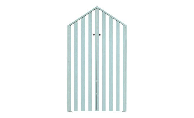 Armadio in legno Beach  blu e bianco  75 x 38 x 140 cm