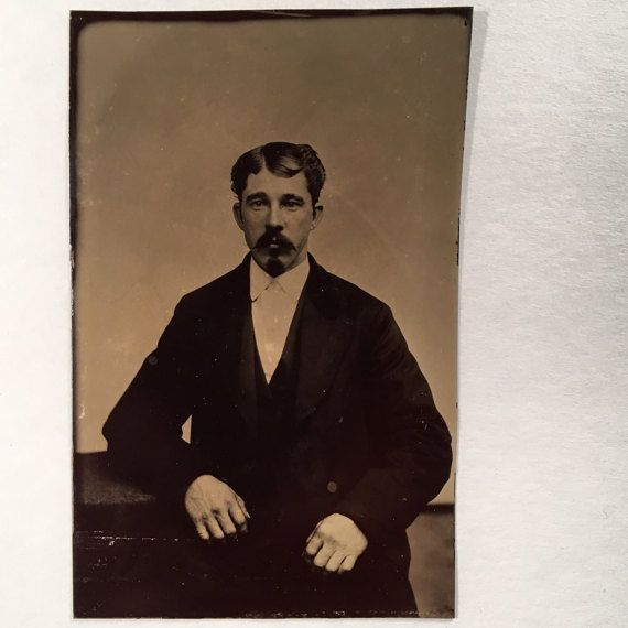 Tintype of a Dapper Man with a Mustache and Goatee 19th