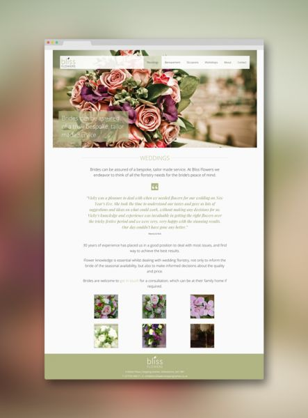 The Bliss Flowers website is simple and easy to navigate. The slider shows three high quality photographs, with a logo that disappears on hover, showing the flowers in their true splendour http://www.mark-making.com/work/bliss-flowers-website-design/ #webdesign #design