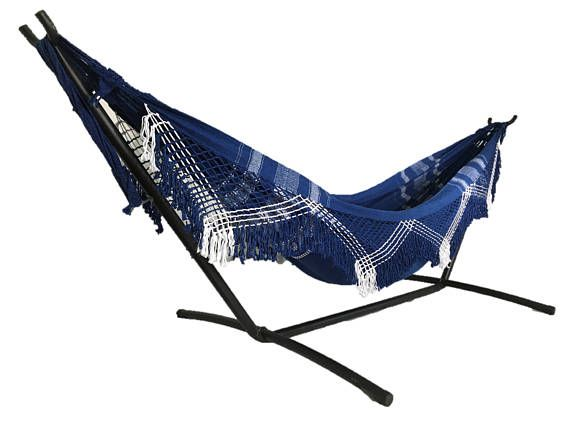 Traditional Brazilian hammocks with fringe handcrafted from 100% soft and stretchy cotton. ― Holds up to approximately 400 lbs (180 Kg): Holds at least two people easily ― Hammock length: approximately 12 feet (3.7 m) from hook end to hook end ― Hammock width: approximately 5.5 feet (1.7