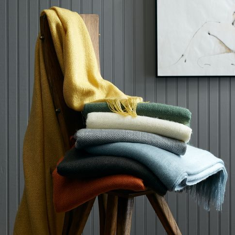 GUEST BED: West Elm Favourite throw. Here's your dusty blue throw!