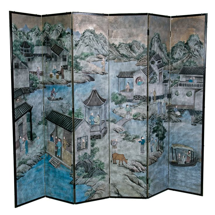 Vintage Chinese Painted Screen | 1stdibs.com