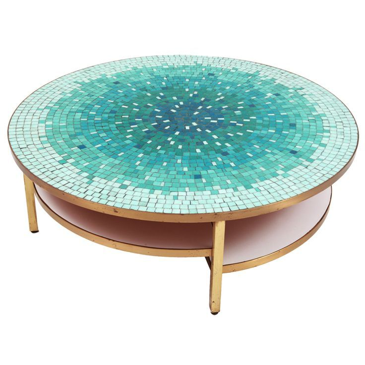 1stdibs | Stunning Mosaic & Patinated Brass Cocktail Table