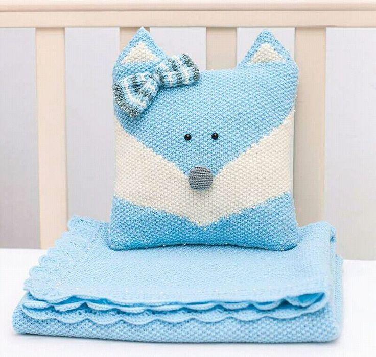 Blue Blanket & Pillow for sale!     $45 #knitting #knittingforsale #gift #forbaby #handmade #blanket #blu #pillow #blufox #fox