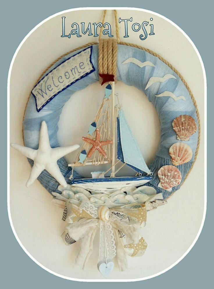Il mare e il vento by Laura Tosi https://www.facebook.com/fattoconamorelaura #sea #ghirlanda #veliero #welcome #fattoconamoredalaura