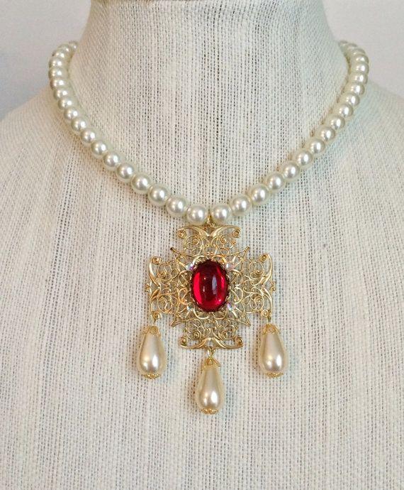Anne Boleyn Ruby Ivory Pearl Drop by tudorshoppe on Etsy