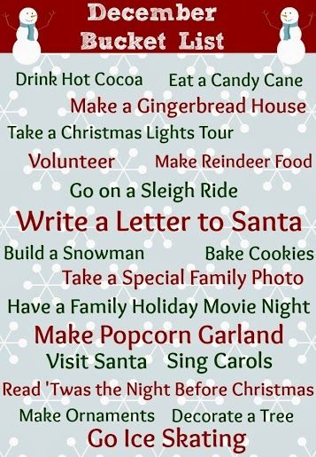 Printable Christmas Bucket List