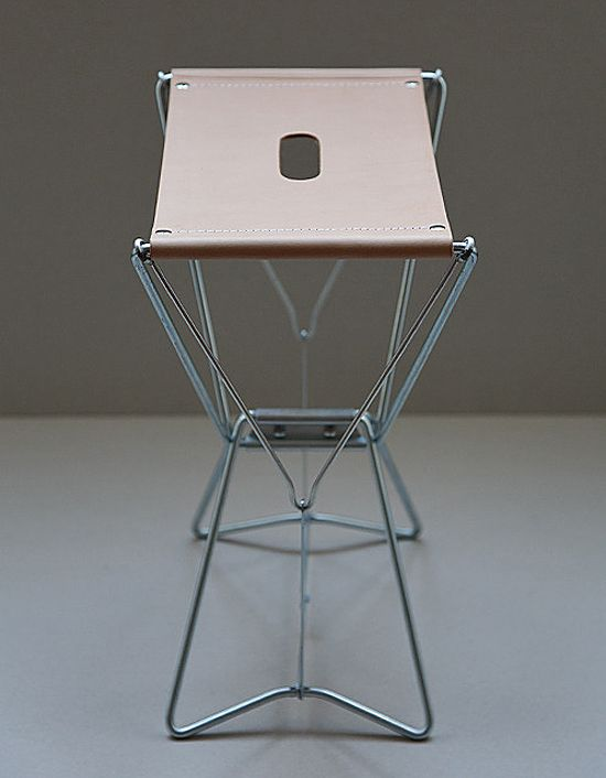 Attractive Wire Frame Stool With Leather Seat