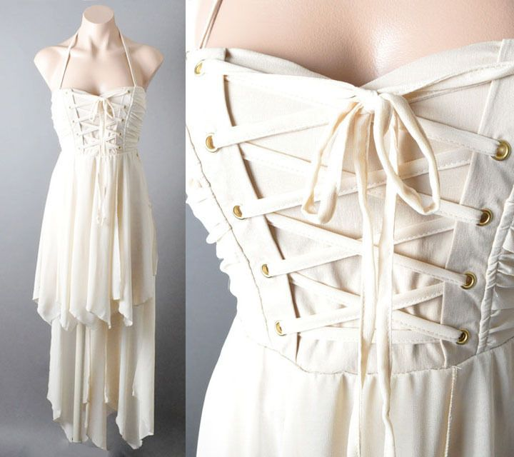 Lace Up Corset Bustier Renaissance Fairy Tale Handkerchief Ballet Gown Dress SML #Dressuphoney #AsymmetricalHem #Formal