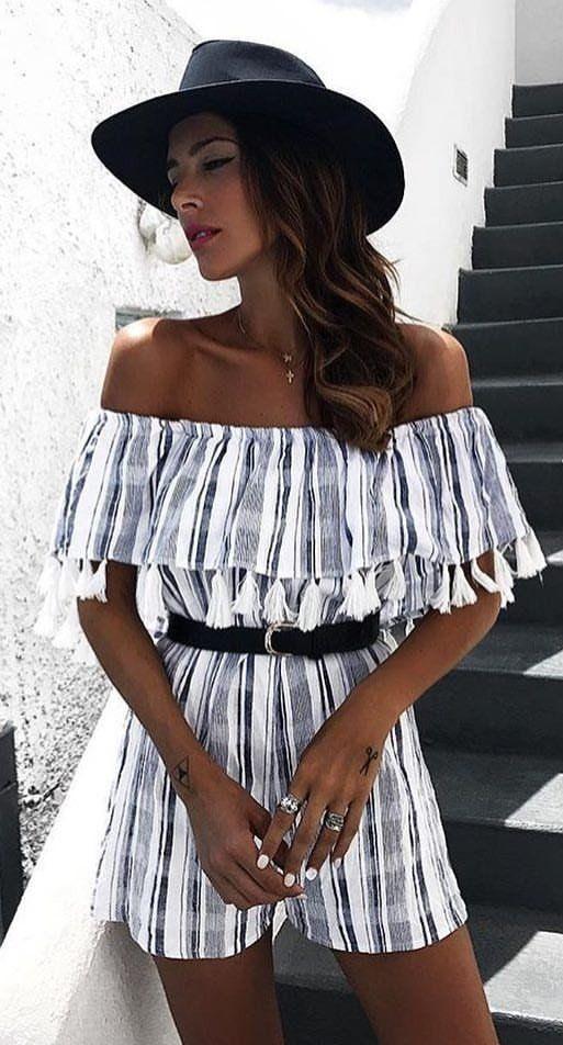 #summer #outfits  Black Hat + Striped Off The Shoulder Romper
