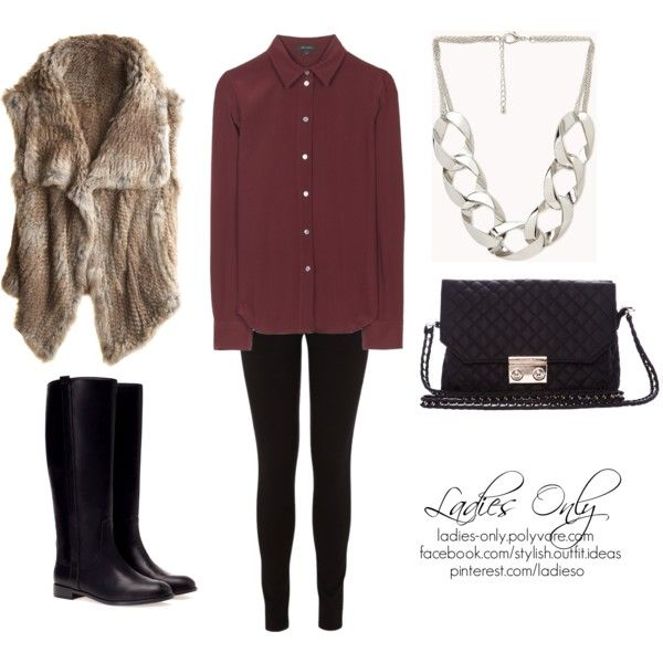 """bordeaux and fur"" by ladies-only on Polyvore"