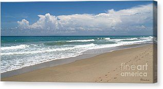 Florida Beach Canvas - Treasure Coast Beach Florida Seascape C4 Canvas Print by Ricardos Creations, #FloridaBeachCanvas #FavoriteArt