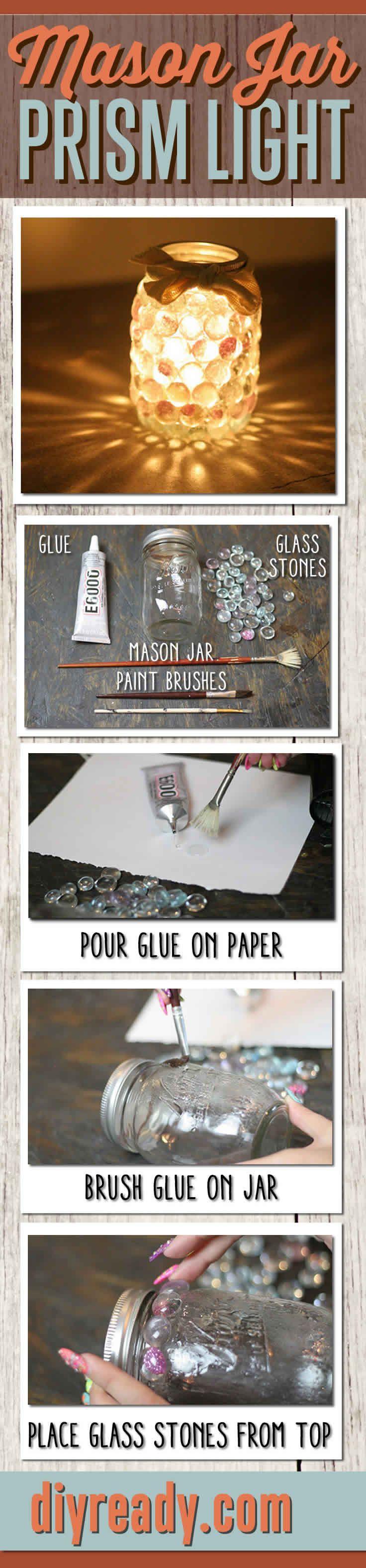 Mason Jar Dollar Store Craft - Easy DIY Prism Light #diy #masonjar #crafts http://diyready.com/mason-jar-crafts-prism-candle-light/