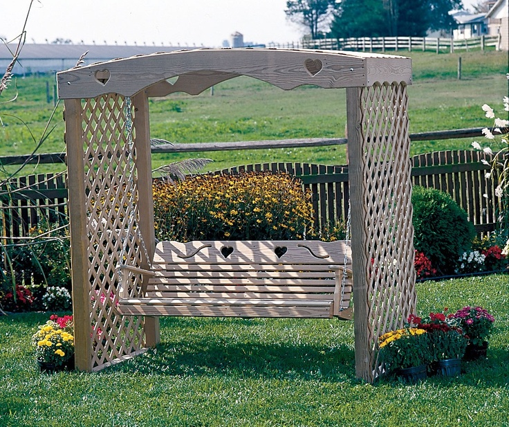 Amish Wood Arbor Swing Stand