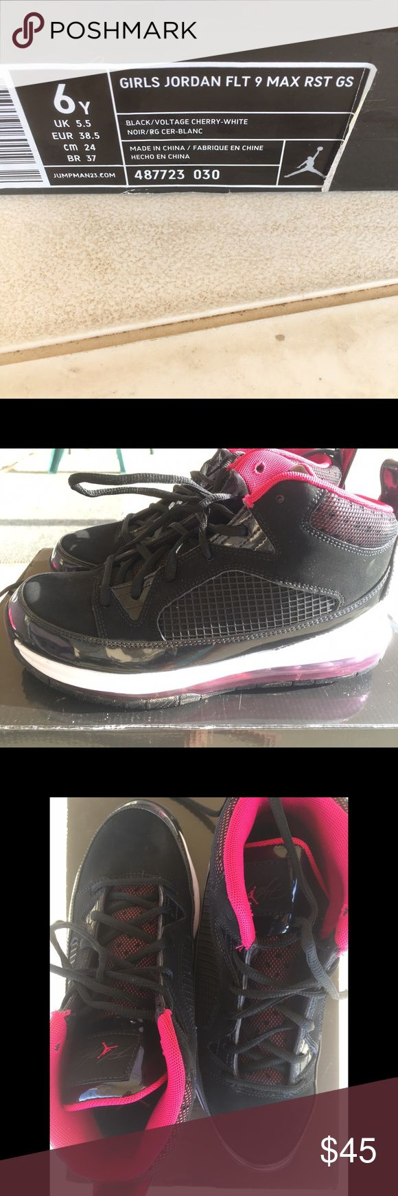 Girls Jordan Flight 9 Max RST New w/o tags but w/ box Only worn a couple of times  Hot Pink and Black Size 6Y Jordan Shoes