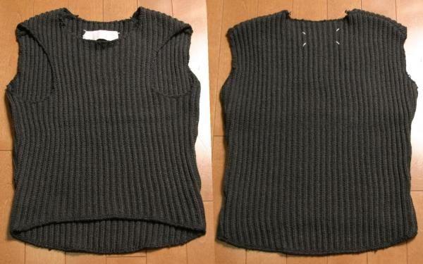 ミス・ディアンナMISS DEANNAデザインニットベストM位グレー  knitted sleeveless sweater with armholes displaced to the front • martin margiela  8,900 円