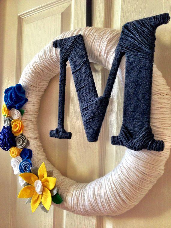 Monogrammed Yarn Wreath, Pick Your Colors Summer Wreath, Yarn Pretty, Yarn Wreath w Felt Flowers