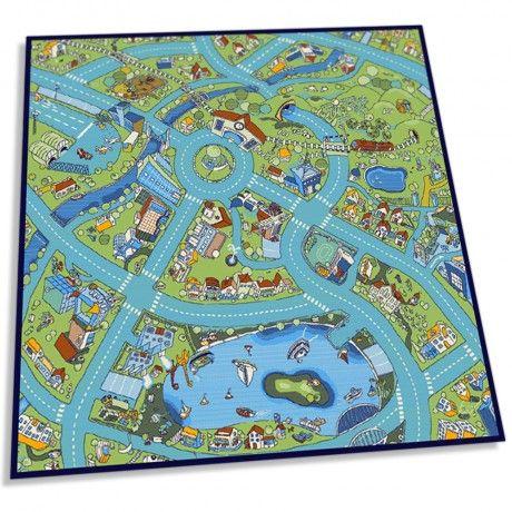 Autospeelbaan, Kinderspeeltapijt, kindertapijt, kindercarpet, speelkleed, speeltapijt, kindervloerkleed stratenplan