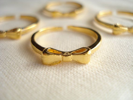 Gold bow ring Minimalist bow ring Bow jewelry Gift for by Poppyg