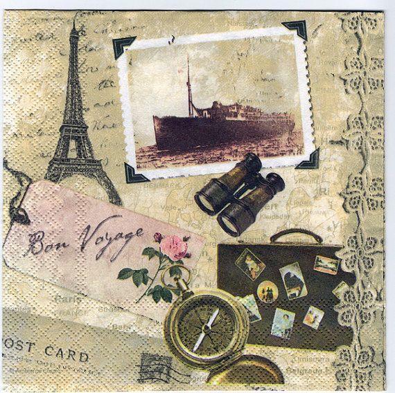 4 Decoupage Napkins  Bon Voyage  Travel Mementos  Travel