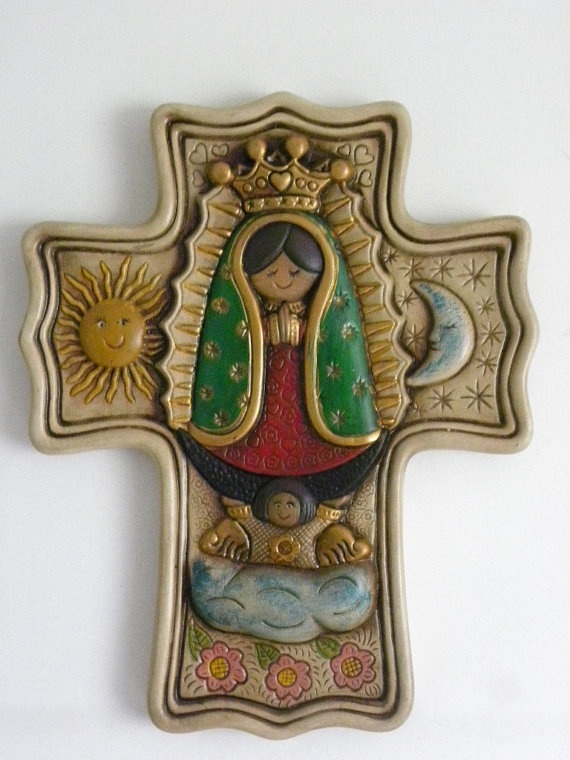 Wall Deco Ceramic Cross Virgencita Plis with the moon by Etnochik, $68.00    Carefully hand painted with non-toxic paint and made of delicated ceramic;  a very unique Wall Hanging Deco Figure for children room, or for your favorite spot at home or business. Ideal for confirmation, Birthday, First Communion, Housewarming and Baptism Gift.