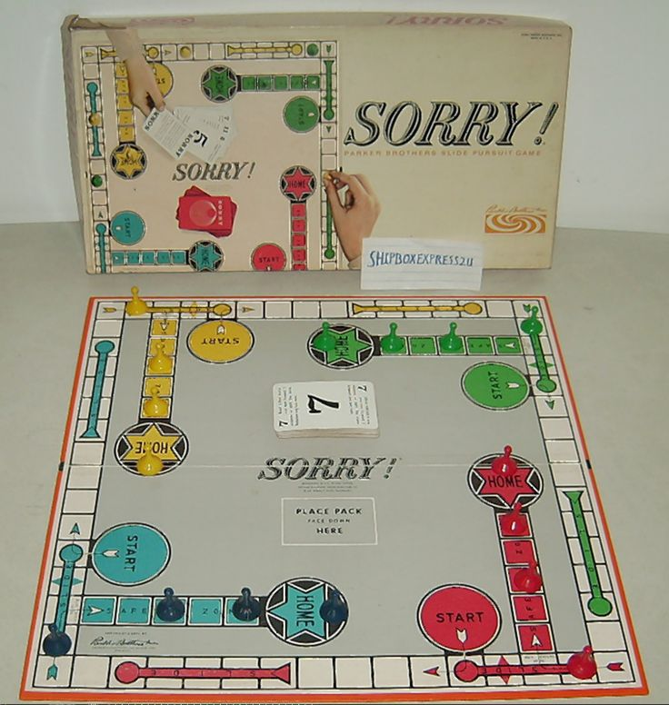 1964 Vintage Parker Brothers Sorry Board Game Complete