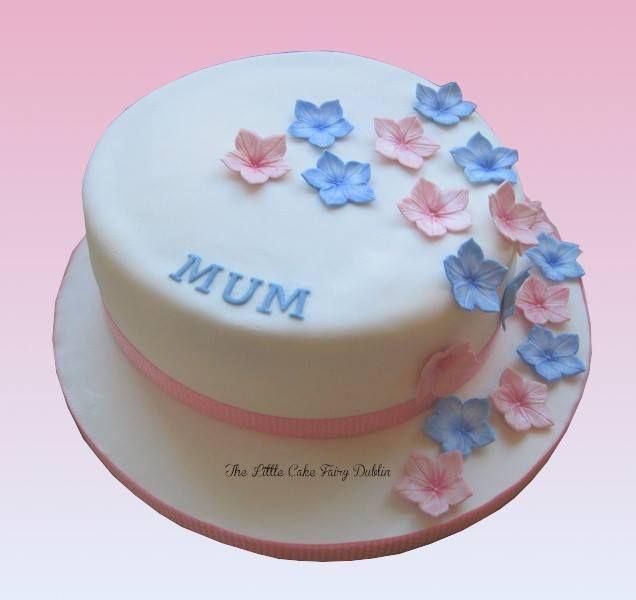 Pink and blue flower cascade Mum cake www.littlecakefairydublin.com www.facebook.com/littlecakefairydublin