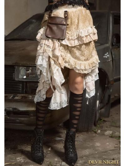 White and Brown Steampunk Lace Irregular Skirt with Bag                                                                                                                                                                                 Más