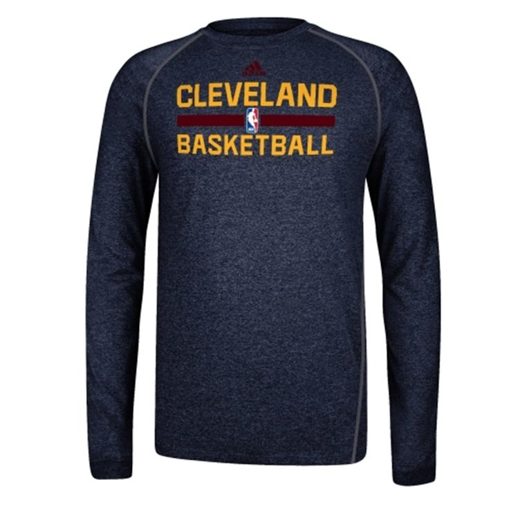 adidas Cleveland Cavaliers Practice Performance Long Sleeve T-Shirt - Navy Blue