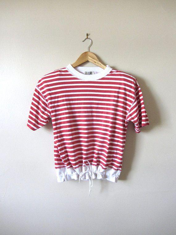 80s Red & White Striped Drawstring T-Shirt