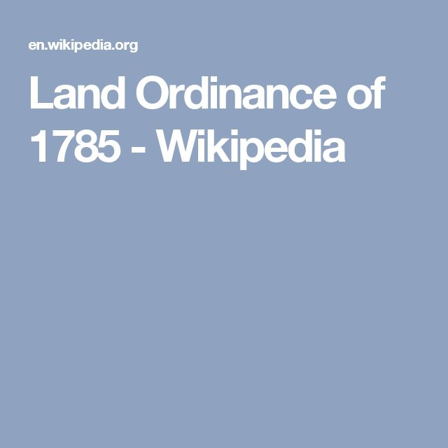 Land Ordinance of 1785 - Wikipedia