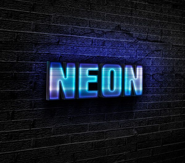 Free designs - Blue neon text effect