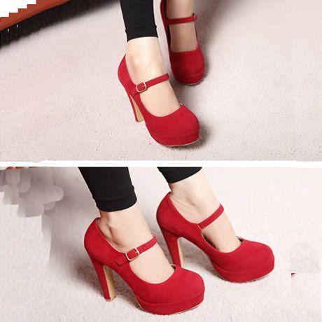 Sweet Mary Jane Suede Red Chunky High Heels | martofchina.com