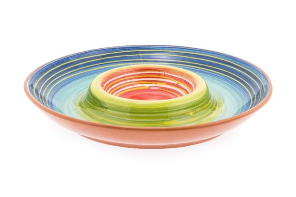 Casa Uno Terracotta Chip and Dip Maya Muticolor Dinnerware - NEW