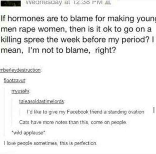 If hormones are to blame for making young men rape women, then is it okay to go on a killing spree the week before my period? I mean, I'm not to blame, right?