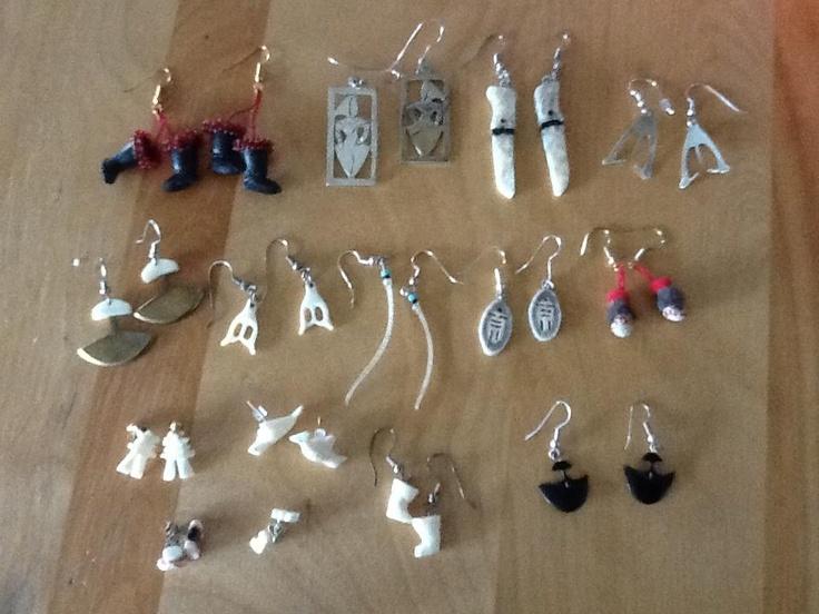 Inuit made earrings from baleen, ivory, bone, sealskin fur ...
