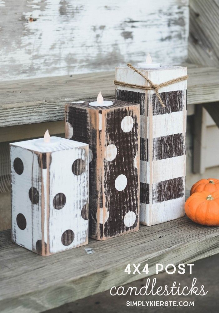 SUPER cute and EASY 4x4 Striped & Polka Dot Pumpkins!  They're also really inexpensive, and the perfect addition to your fall decor. Make on your own or with a group!  | simplykierste.com